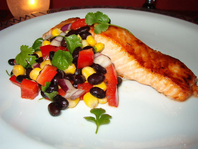 Salmon and Black Bean Salsa